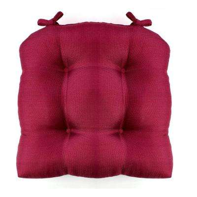 Madison 16 in. x 16 in. Burgundy Woven Cushioned Chair Paid with Ties