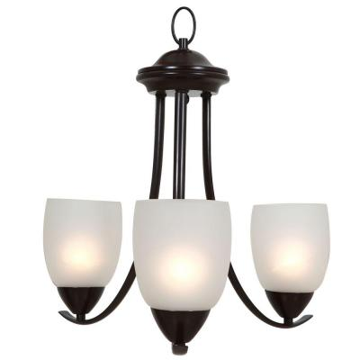 Mirror Lake 3-Light Oil Rubbed Bronze Hanging Chandelier with White Etched Glass Shade