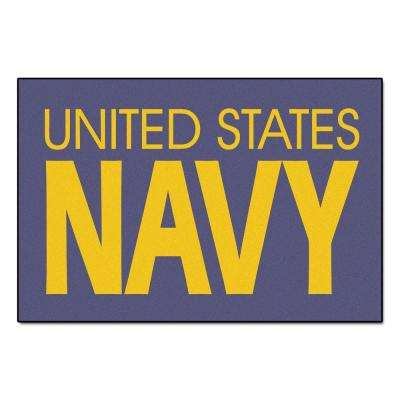 Military Blue 2 ft. x 3 ft. Rectangle Navy Area Rug