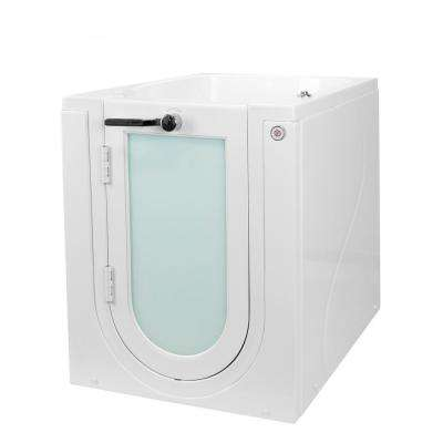 Front Entry 32 in. Acrylic Walk-In Micro Bubble Air Bathtub in White with LH Outward Swing Door, Heated Seat 2 in. Drain