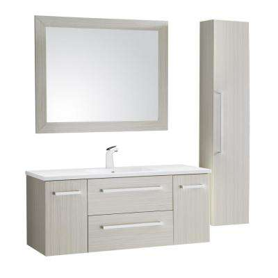 Conques 48 in. W x 20 in. H Bath Vanity in Rich White with Ceramic Vanity Top in White with White Basin and Mirror