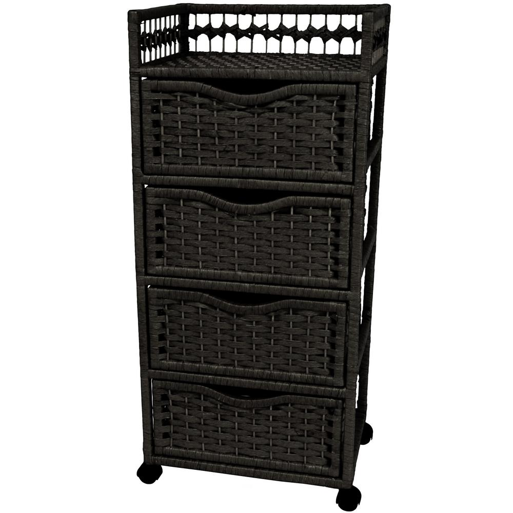 4-Drawer Black Wheeled Natural Fiber Trunk