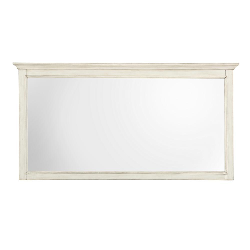 Klein 60 in. W x 31 in. H Single Framed Wall Mirror in Antique White
