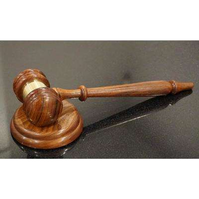 Natural Brown Handcrafted Wooden Gavel and Round Block Set with Brass Work