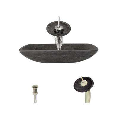 Stone Vessel Sink in Gray Limestone with Waterfall Faucet and Pop-Up Drain in Brushed Nickel