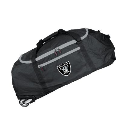 NFL Oakland Raiders 36 in. Checked-In Rolling Duffel in Black