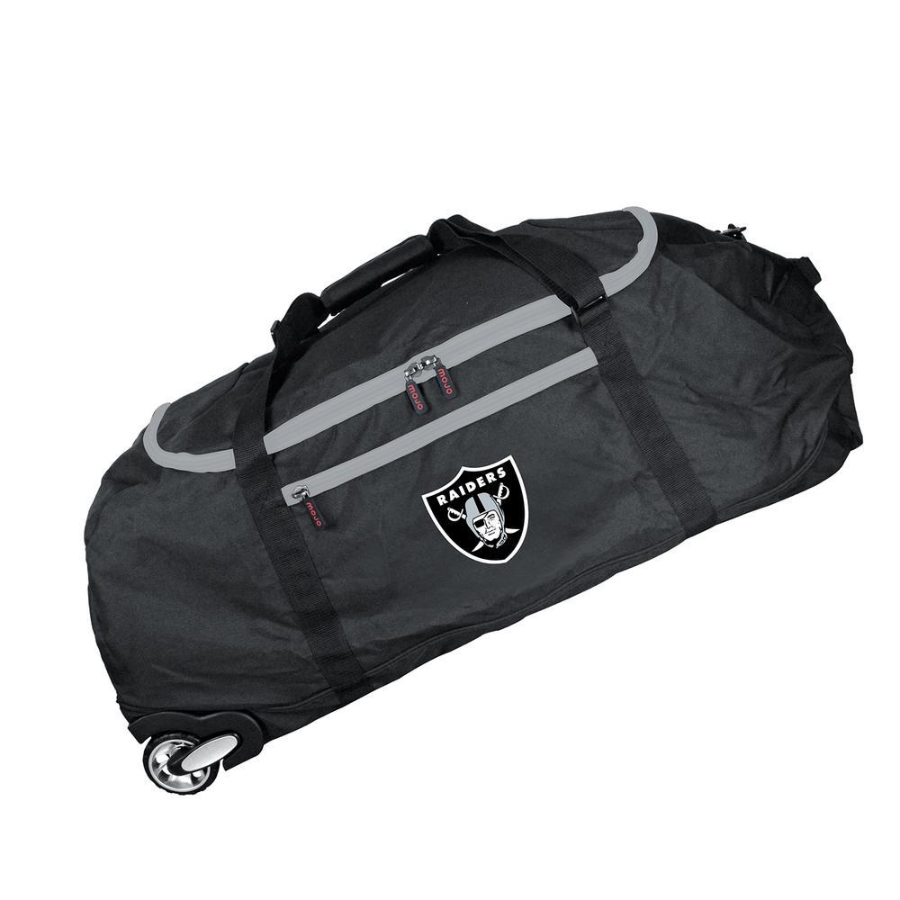NFL Oakland Raiders 36 in. Checked-In Rolling Duffel in Black