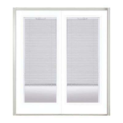 72 in. x 80 in. Ultra White Steel Prehung Left-Hand Inswing Mini Blind Patio Door in Vinyl Frame without Brickmold
