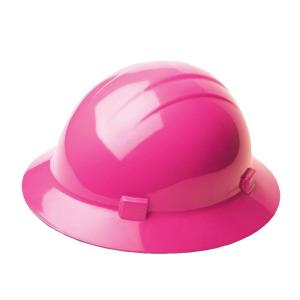 Click here to buy Americana Americana 4 Point Nylon Suspension Slide-Lock Full Brim Hard Hat in Hi Viz Pink by Americana.
