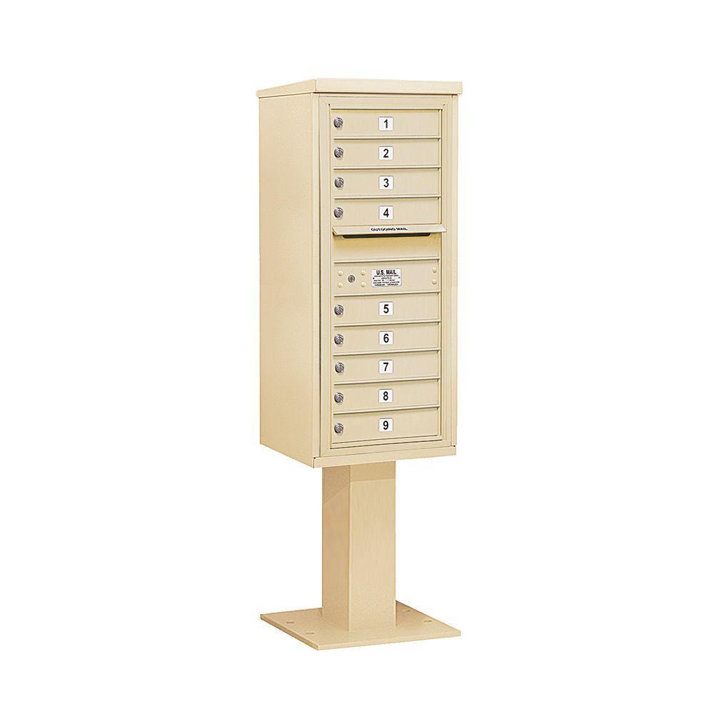 3400 Series Sandstone Mount 4C Pedestal Mailbox with 9 MB1 Doors
