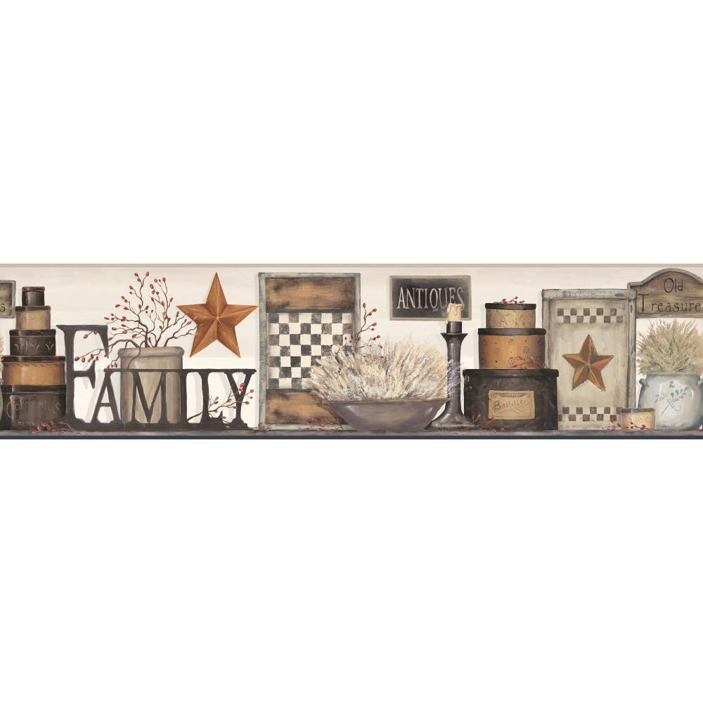 Country Keepsakes Family Shelf beige, taupe, black, brown, tan, red Wallpaper Border