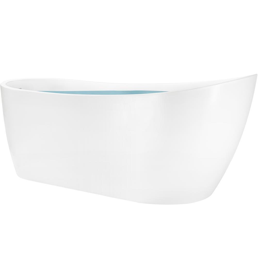 AKDY 67 in. Acrylic Single Slipper Flatbottom Non-Whirlpool Bathtub in Glossy White was $1049.0 now $699.99 (33.0% off)