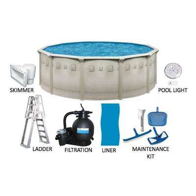 Palisades 24 ft. Round 52 in. Deep Hard Sided Above Ground Pool Package