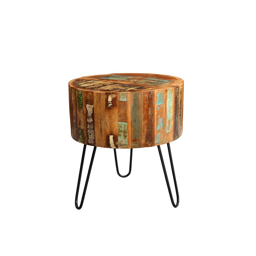 Tulsa Multi Colored Reclaimed Wood Round End Table With Hairpin Legs