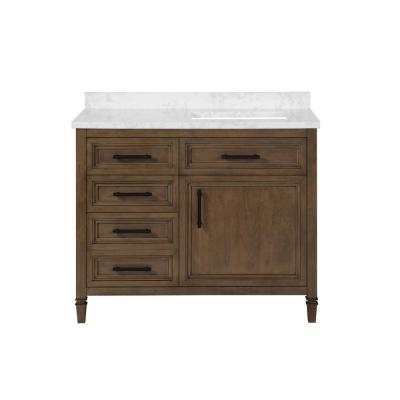 Aiken 42 in. W x 22 in. D Bath Vanity in Almond Latte with Cultured Marble Vanity Top in White with white Basin