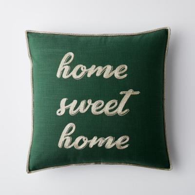Home Sweet Home Dark Green Graphic Embroidered Decorative 18 in. Square Pillow Cover