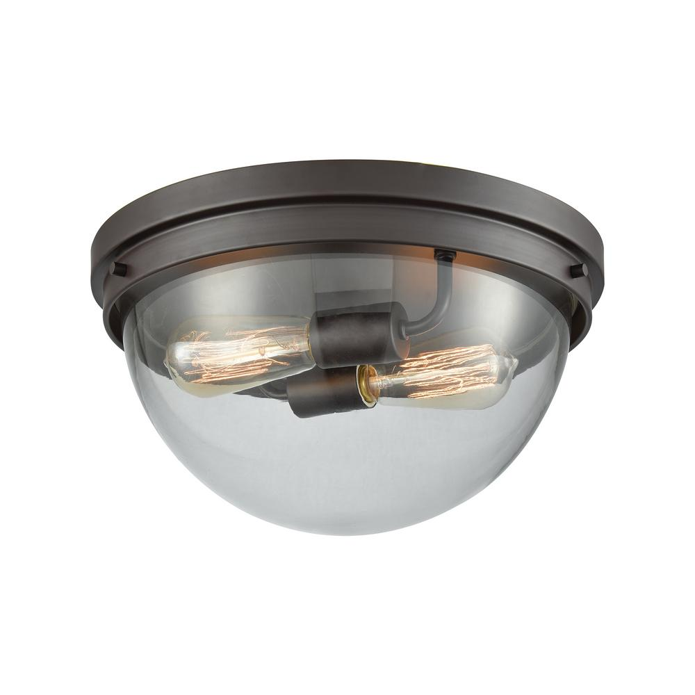 Thomas Lighting Beckett 2 Light Oil Rubbed Bronze With Clear Glass Flushmount