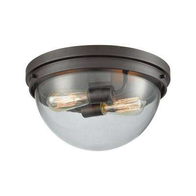 Beckett 2-Light Oil Rubbed Bronze With Clear Glass Flushmount