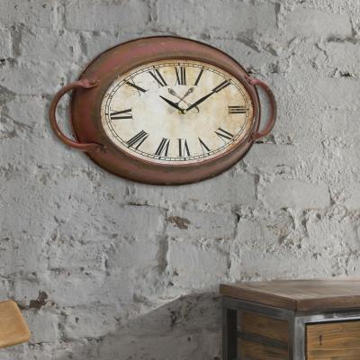 11 in. x 16.5 in. Metal Oval Wall Clock