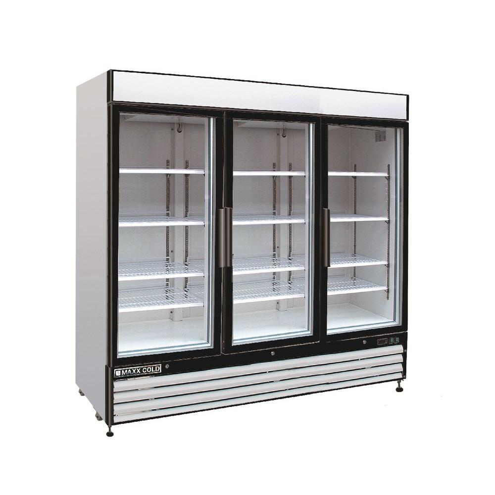 Maxx cold x series 72 cu ft triple door commercial upright triple door commercial upright merchandiser freezer in white mxm3 72f the home depot planetlyrics Gallery