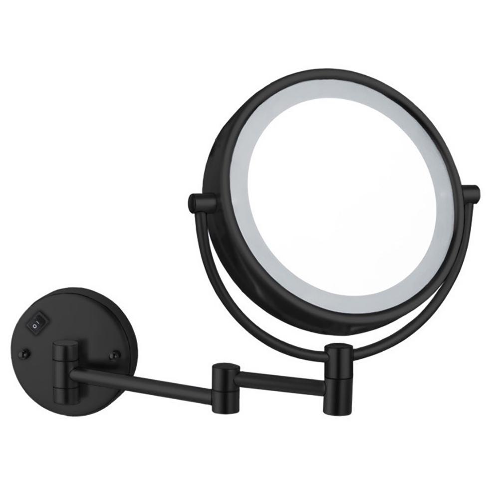 Nameeks Glimmer 8 in. x 13.23 in. Wall Mounted LED 5x Round Mirror in Matte Black Finish