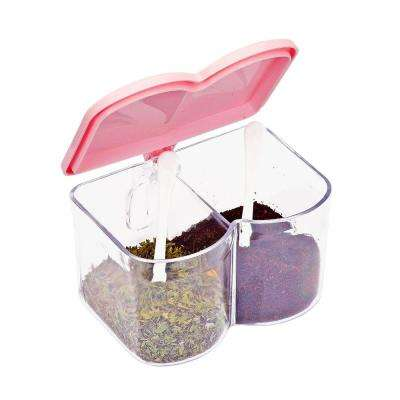 2-Compartment Pink Acrylic Seasoning Box