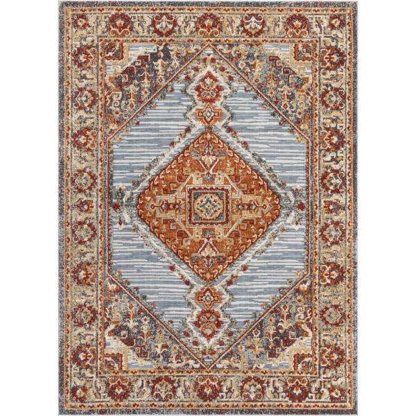 Willowbrook Liliana Bohemian Aztec Tribal Grey Red 7 ft. 10 in. x 9 ft. 10 in. Flatweave High-Low Area Rug