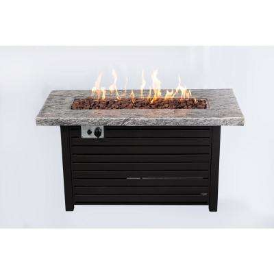 48 in. W x 22 in. D x 25 in. H Rectangular Steel and MGO Propane Fire pit in Slate Top Finish with Cover