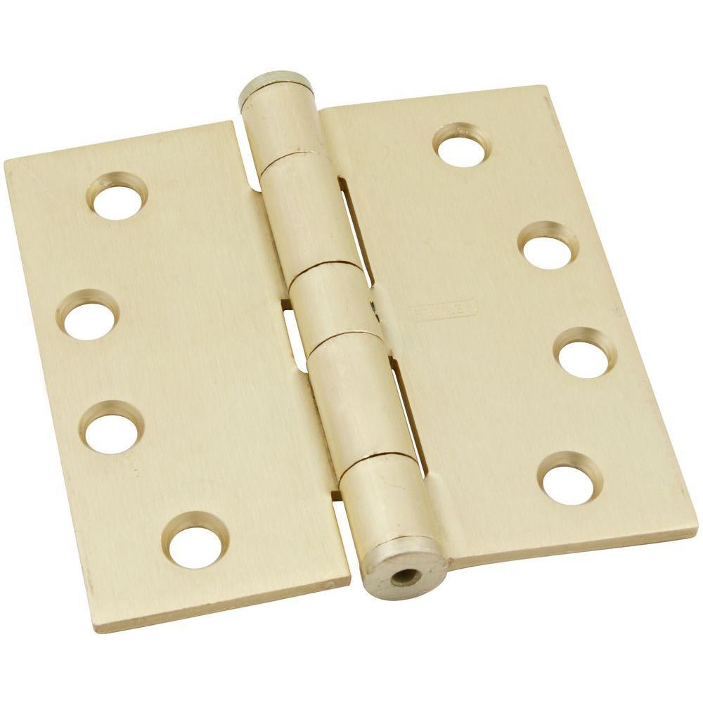 4 in. x 4 in. Satin Brass Standard Weight Hinge