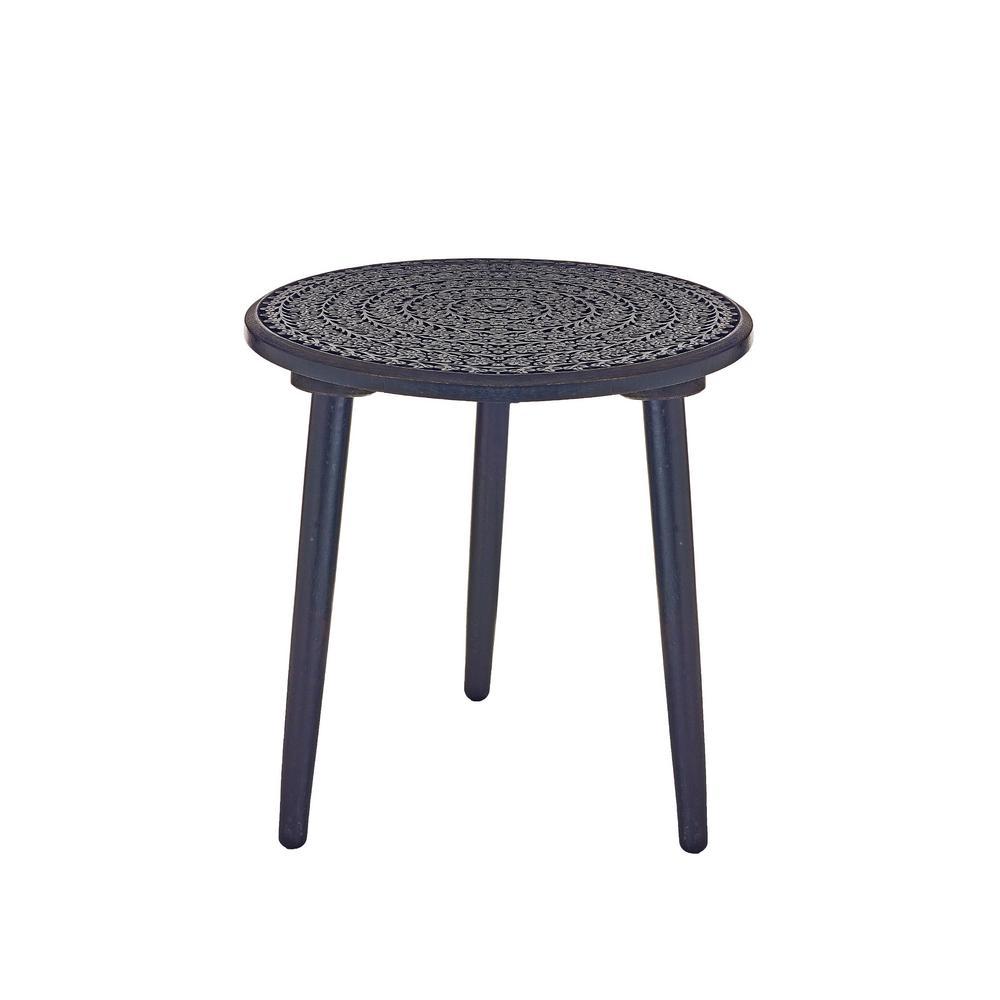 Bernini Black Mango Wood Hand-Carved Side Table