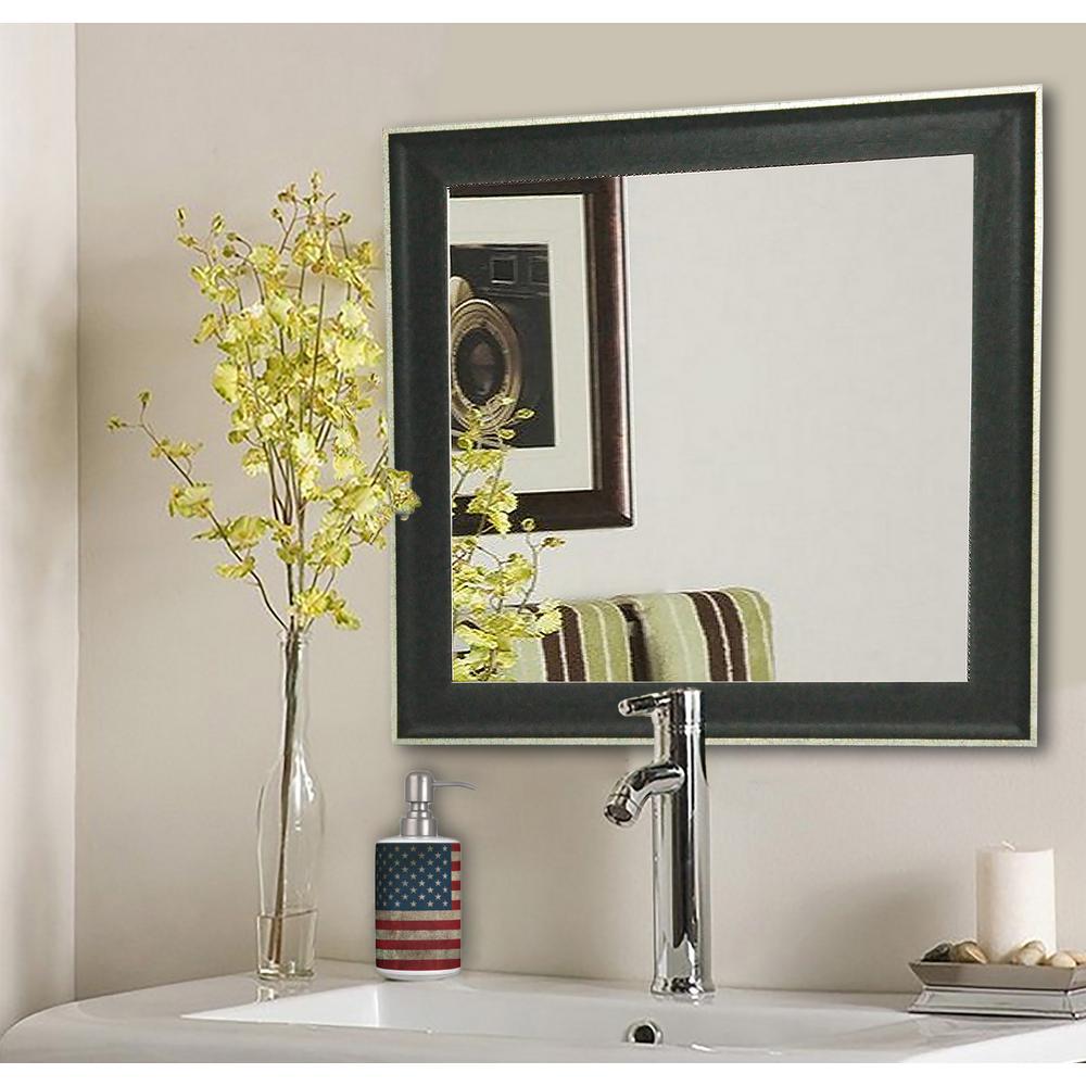 27.5 in. x 27.5 in. Vintage Black Square Vanity Wall Mirror