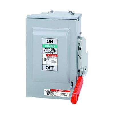 Heavy Duty 30 Amp 600-Volt 3-Pole Outdoor Non-Fusible DC Photovoltaic Rated Safety Switch