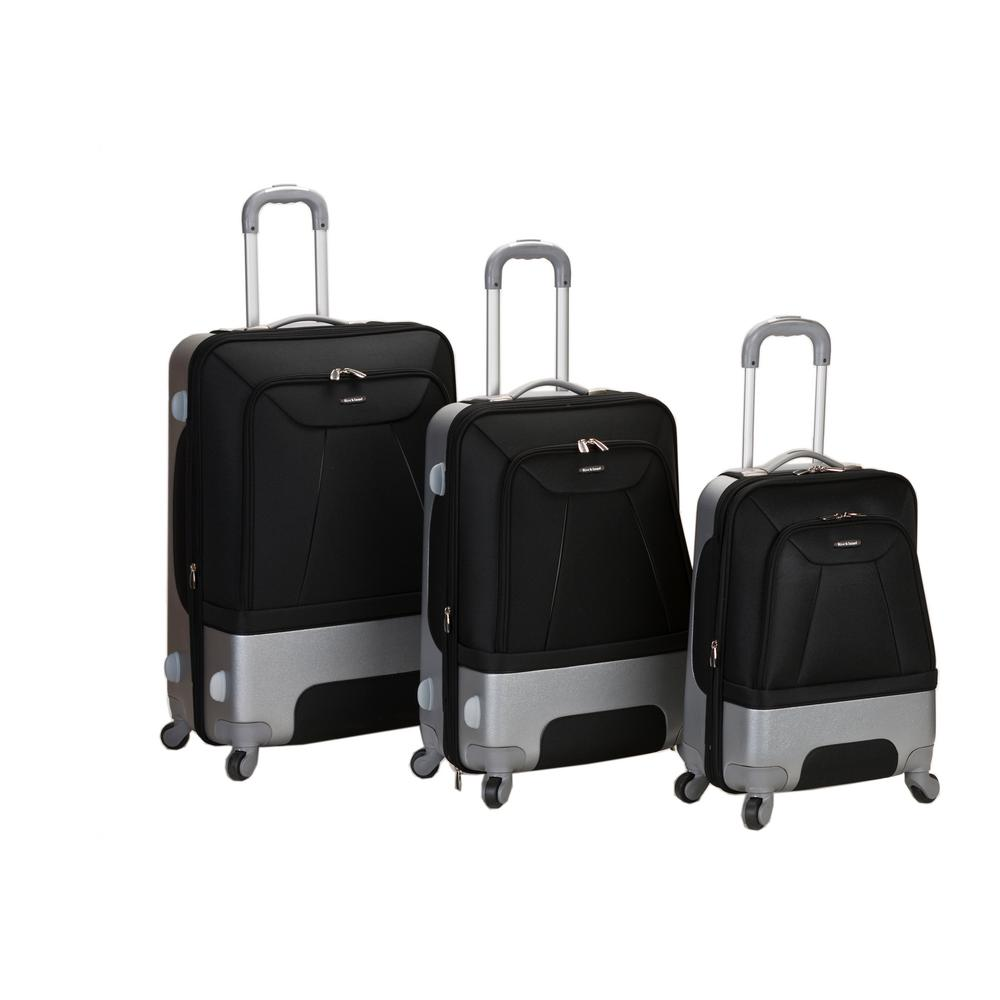 Rockland 3-Piece Rome Hybrid EVA/ABS Luggage Set, Black