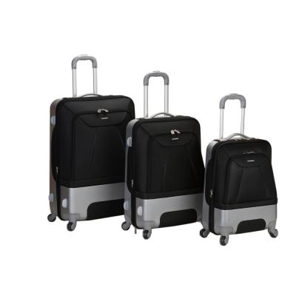 Rockland Rome Hybrid EVA/ABS 3-Piece Softside Luggage Set, Black