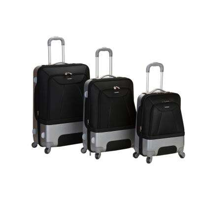 Rockland Rome Hybrid EVA/ABS 3-Piece Softside Luggage Set, Black