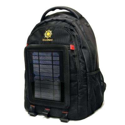 Black Ballistic Nylon Solar Lithium-ion Battery Mobile Charger Backpack