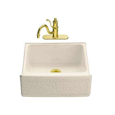 Interlace Design on Alcott Farmhouse Apron-Front Fireclay 25 in. 5-Hole Single Basin Kitchen Sink in Almond
