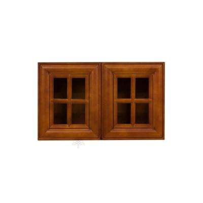 Cambridge Assembled 30x18x12 in. Wall Mullion Door Cabinet with 2 Doors in Chestnut