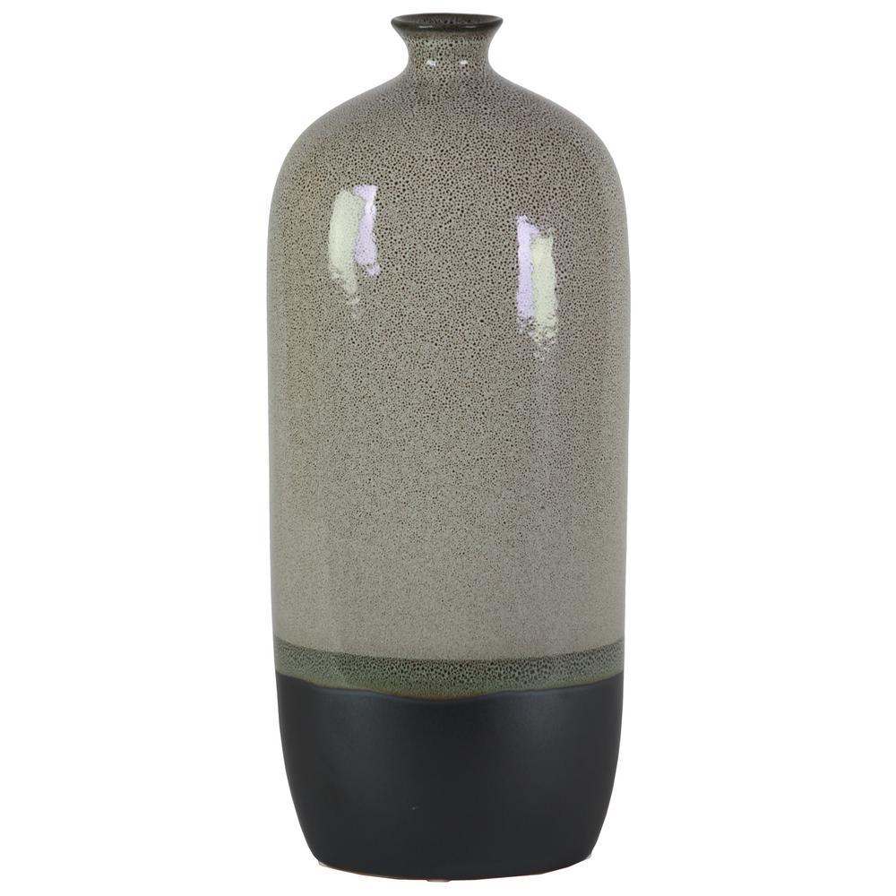 Gray Gloss Stoneware Decorative Vase