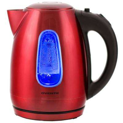 7.5-Cup Stainless Steel Cordless Red Electric Kettle