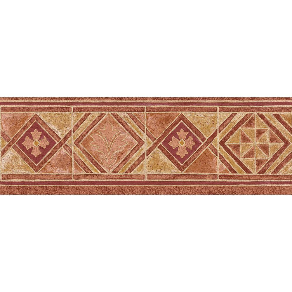 The Wallpaper Company 6.8 in. x 15 ft. Red Mid-Tone Moroccan Tile Border