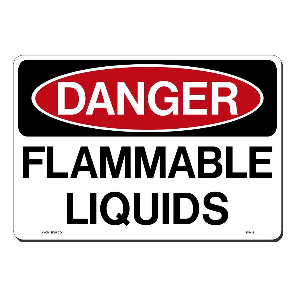 14 in. x 10 in. Danger Flammable Liquids Sign Printed on