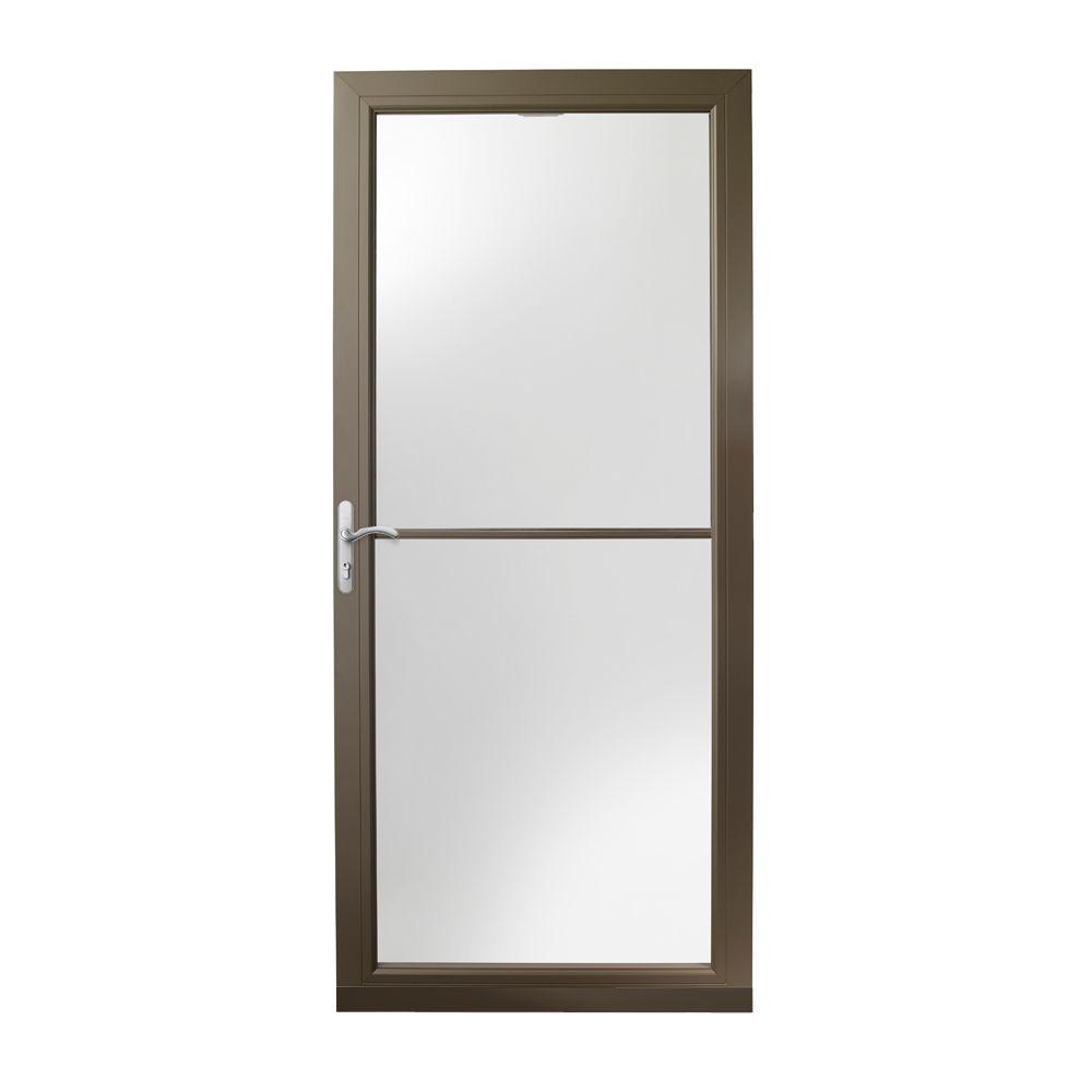36 in. x 80 in. 3000 Series Terratone Left-Hand Self-Storing Easy Install Aluminum Storm Door with Nickel Hardware