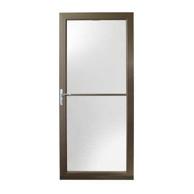 36 in. x 80 in. 3000 Series Terratone Left-Hand Self-Storing Easy Install Aluminum Storm Door with Nickel Hardware