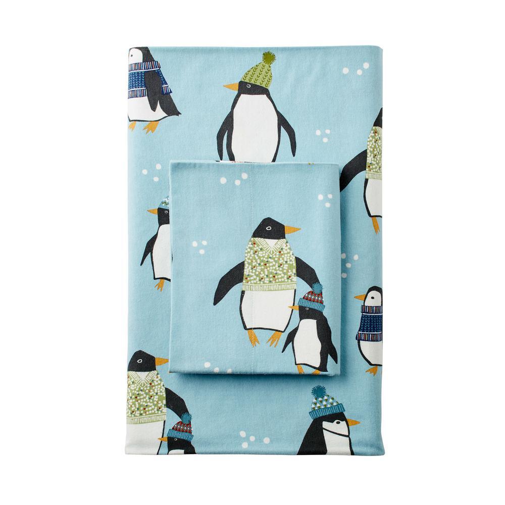 Winter Penguin Flannel Flat Sheet