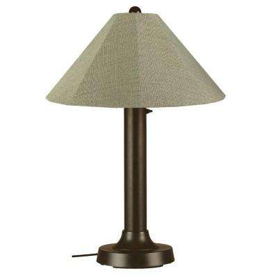 Seaside 34 in. Outdoor Bronze Table Lamp with Basil Linen Shade