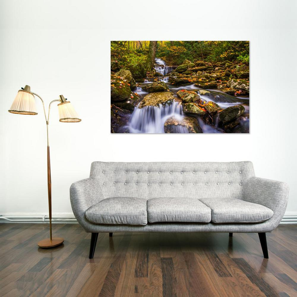 24 In X 36 Waterfall And Fall Color On The Blue Ridge Parkway North Carolina Printed Canvas Wall Art Fi 07 Tw Home Depot