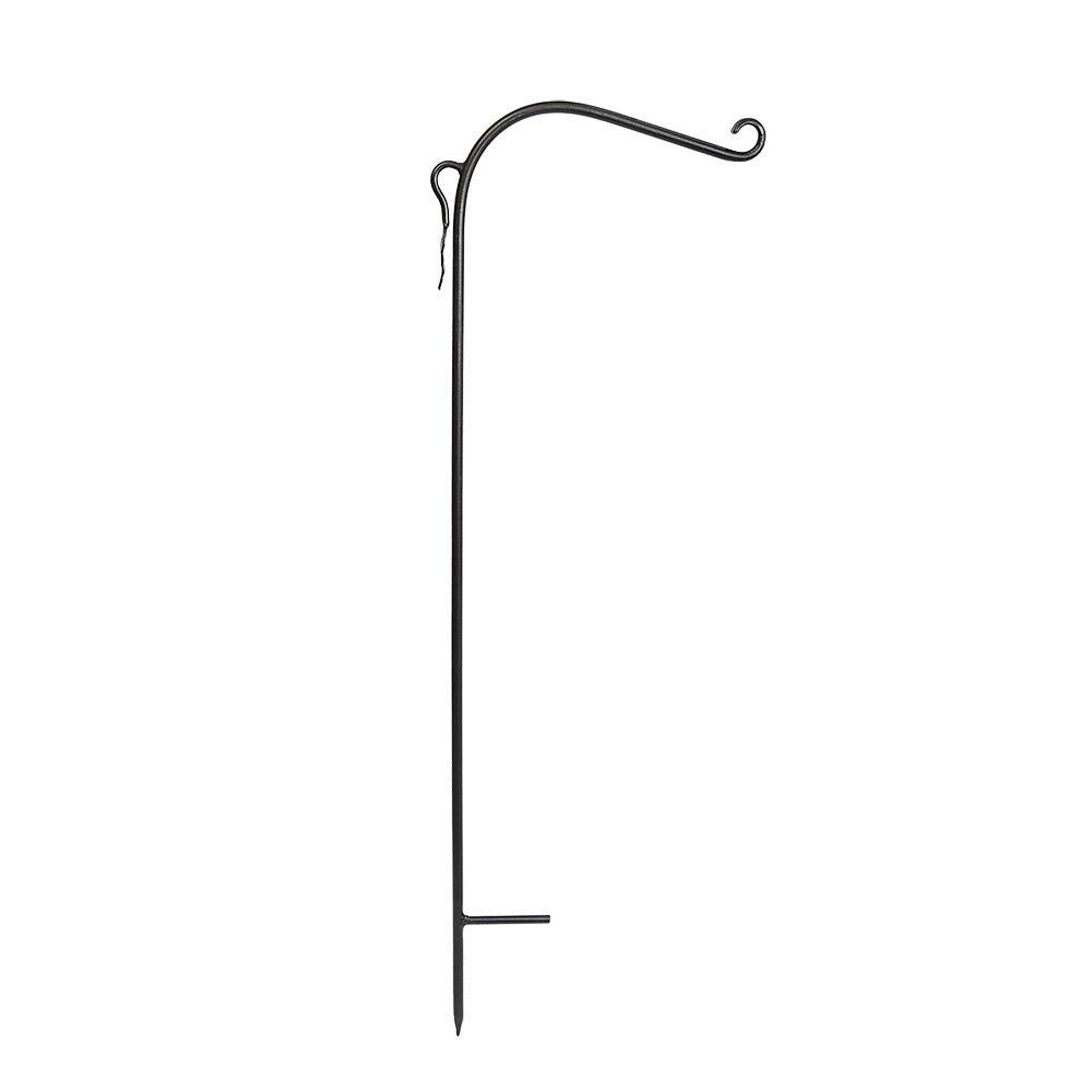 Achla Designs 42 in. Tall Black Powder Coat Iron Shepherd's Hook Yard Pole Stake