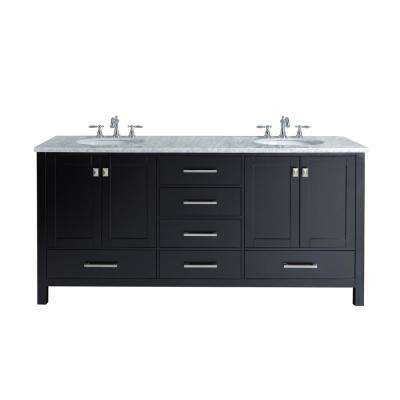 Malibu 72 in. W x 22 in. D Vanity in Espresso with Marble Vanity Top in Carrara White