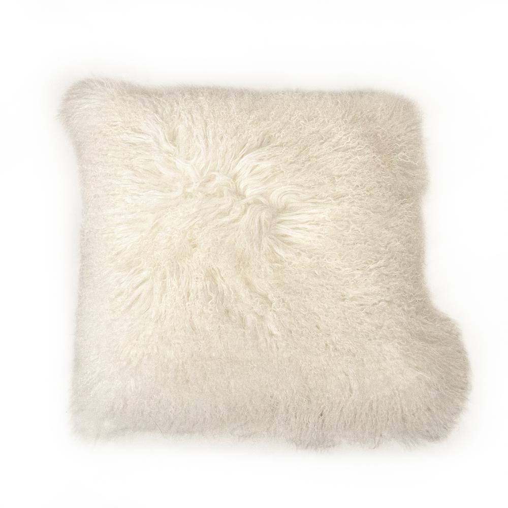 zentique Tibetan White Lamb Fur Pouf was $585.0 now $387.0 (34.0% off)
